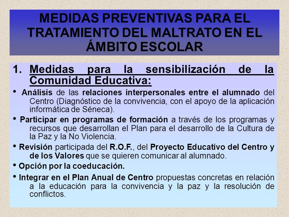 29 MEDIDAS PREVENTIVAS PARA EL TRATAMIENTO DEL MALTRATO EN EL ÁMBITO ESCOLAR 1.Medidas para la sensibilización de la Comunidad Educativa: Análisis de