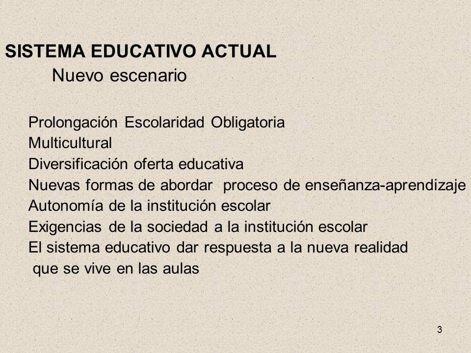 3 SISTEMA EDUCATIVO ACTUAL Nuevo escenario Prolongación Escolaridad Obligatoria Multicultural Diversificación oferta educativa Nuevas formas de aborda