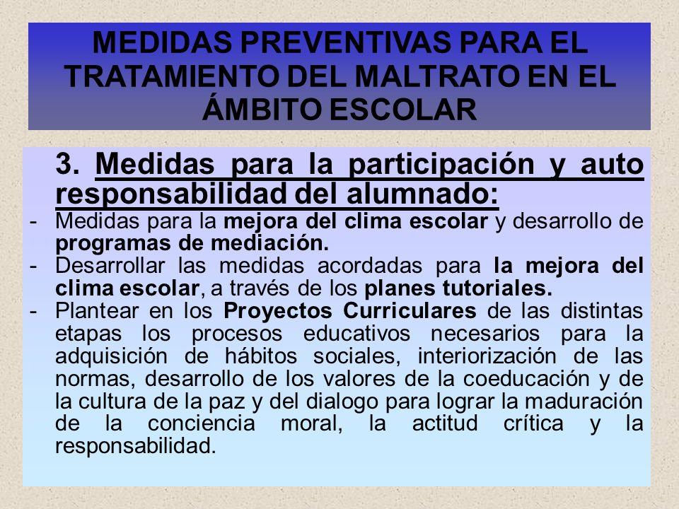 31 3. Medidas para la participación y auto responsabilidad del alumnado: -Medidas para la mejora del clima escolar y desarrollo de programas de mediac