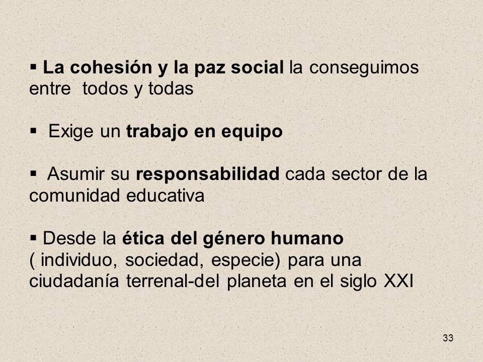 33 La cohesión y la paz social la conseguimos entre todos y todas Exige un trabajo en equipo Asumir su responsabilidad cada sector de la comunidad edu