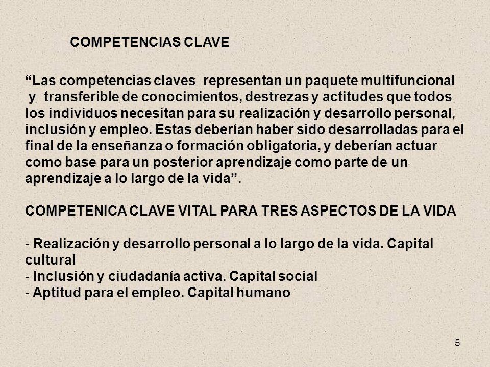 5 COMPETENCIAS CLAVE Las competencias claves representan un paquete multifuncional y transferible de conocimientos, destrezas y actitudes que todos lo