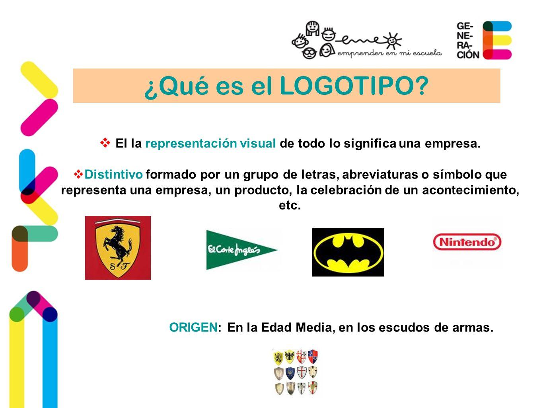 ¿Qué es el LOGOTIPO? El la representación visual de todo lo significa una empresa. Distintivo formado por un grupo de letras, abreviaturas o símbolo q