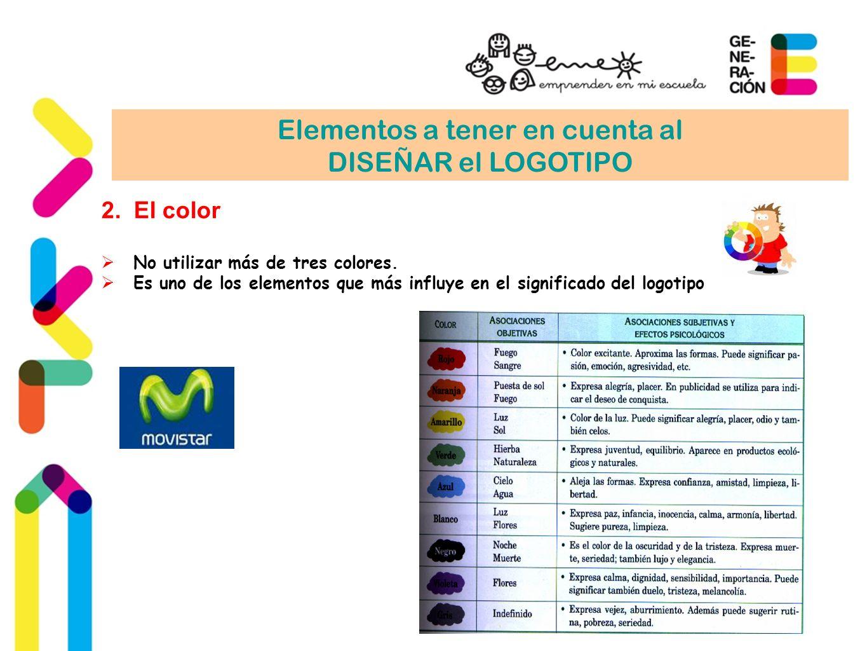Elementos a tener en cuenta al DISEÑAR el LOGOTIPO 2.El color No utilizar más de tres colores. Es uno de los elementos que más influye en el significa