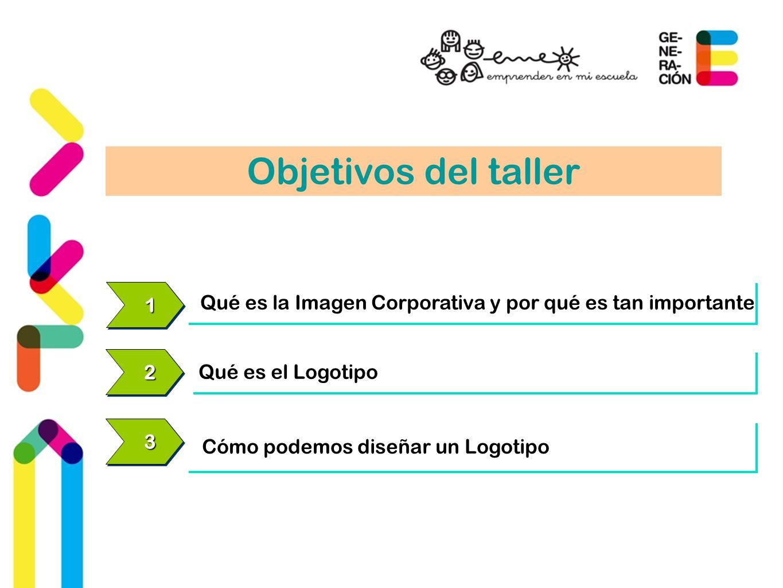 11 Qué es la Imagen Corporativa y por qué es tan importante 22 Qué es el Logotipo 33 Cómo podemos diseñar un Logotipo Objetivos del taller