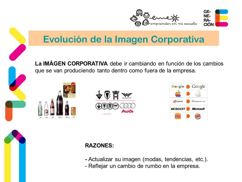 Evolución de la Imagen Corporativa La IMÁGEN CORPORATIVA debe ir cambiando en función de los cambios que se van produciendo tanto dentro como fuera de