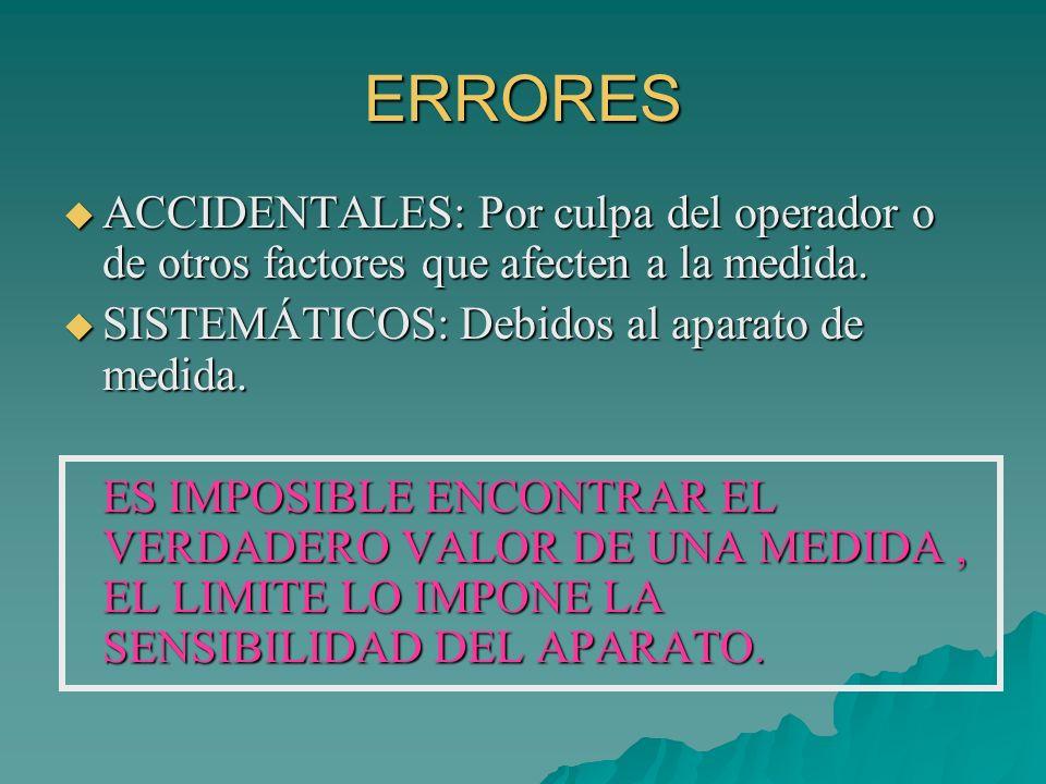 ERRORES ACCIDENTALES: Por culpa del operador o de otros factores que afecten a la medida. ACCIDENTALES: Por culpa del operador o de otros factores que