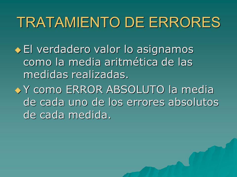 TRATAMIENTO DE ERRORES El verdadero valor lo asignamos como la media aritmética de las medidas realizadas. El verdadero valor lo asignamos como la med