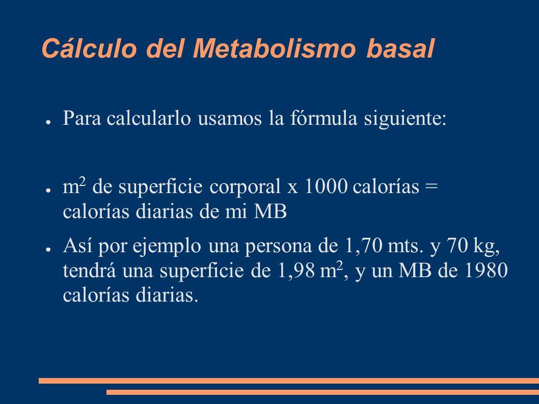 Cálculo del Metabolismo basal Para calcularlo usamos la fórmula siguiente: m 2 de superficie corporal x 1000 calorías = calorías diarias de mi MB Así