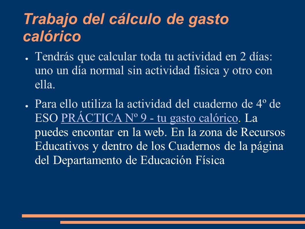 Trabajo del cálculo de gasto calórico Tendrás que calcular toda tu actividad en 2 días: uno un día normal sin actividad física y otro con ella. Para e