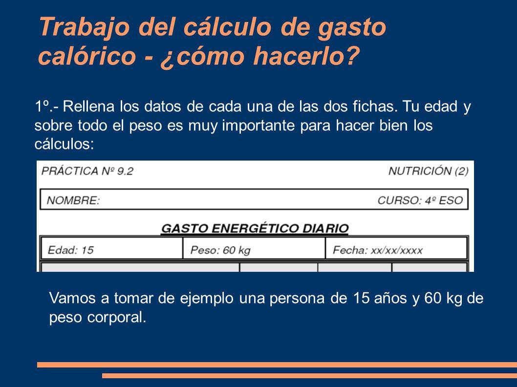 Trabajo del cálculo de gasto calórico - ¿cómo hacerlo? 1º.- Rellena los datos de cada una de las dos fichas. Tu edad y sobre todo el peso es muy impor