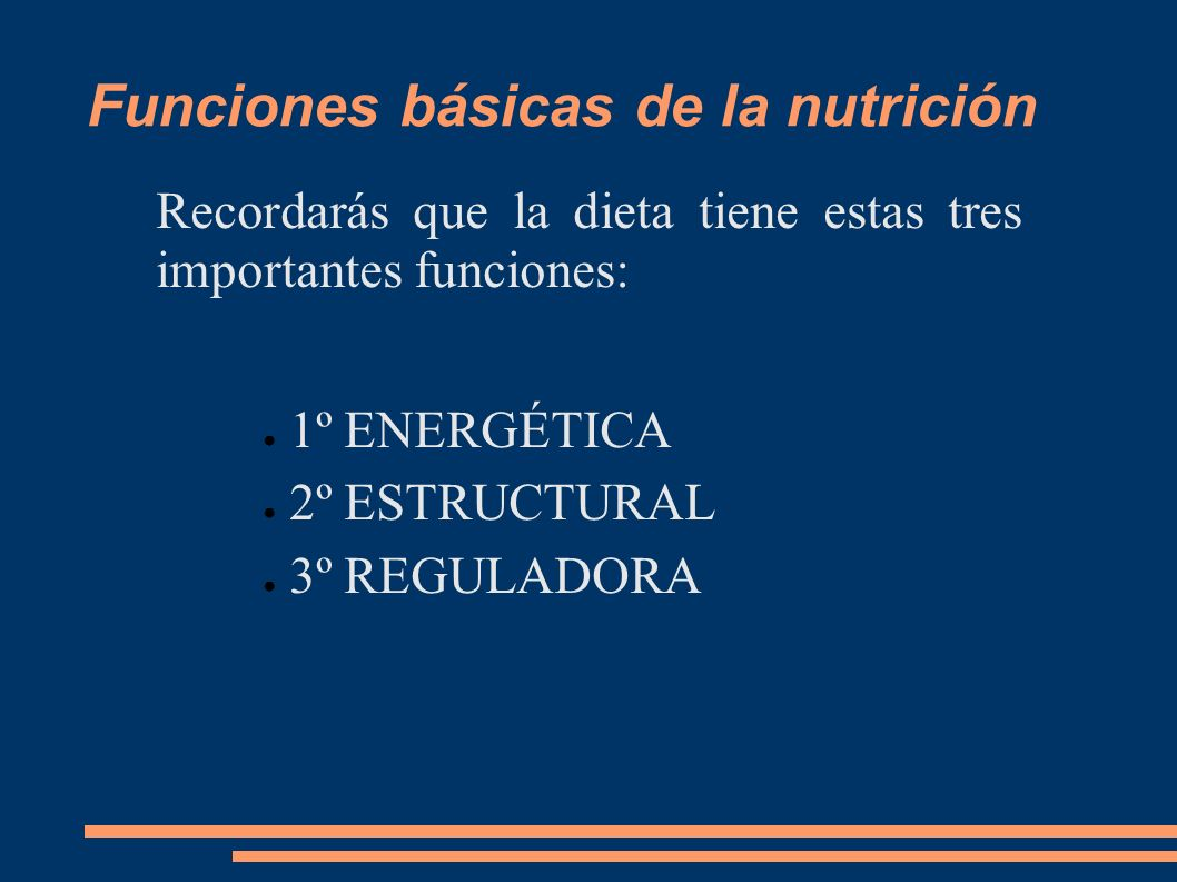 Funciones básicas de la nutrición Recordarás que la dieta tiene estas tres importantes funciones: 1º ENERGÉTICA 2º ESTRUCTURAL 3º REGULADORA