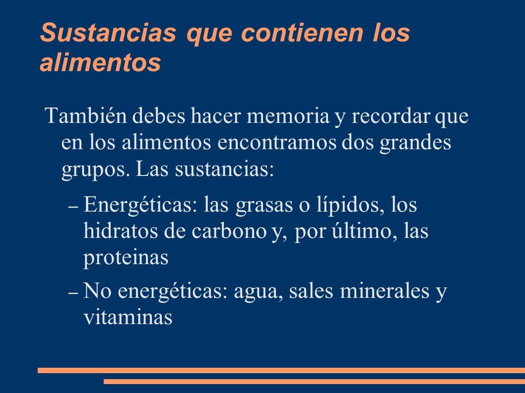 Funciones de las sustancias energéticas También llamados Principios Inmediatos – Grasas: Energética y estructural.