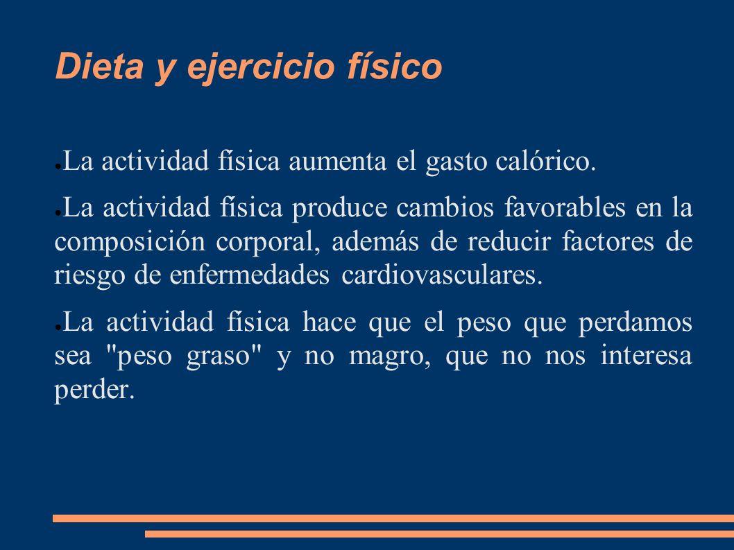 Dieta y ejercicio físico La actividad física aumenta el gasto calórico. La actividad física produce cambios favorables en la composición corporal, ade