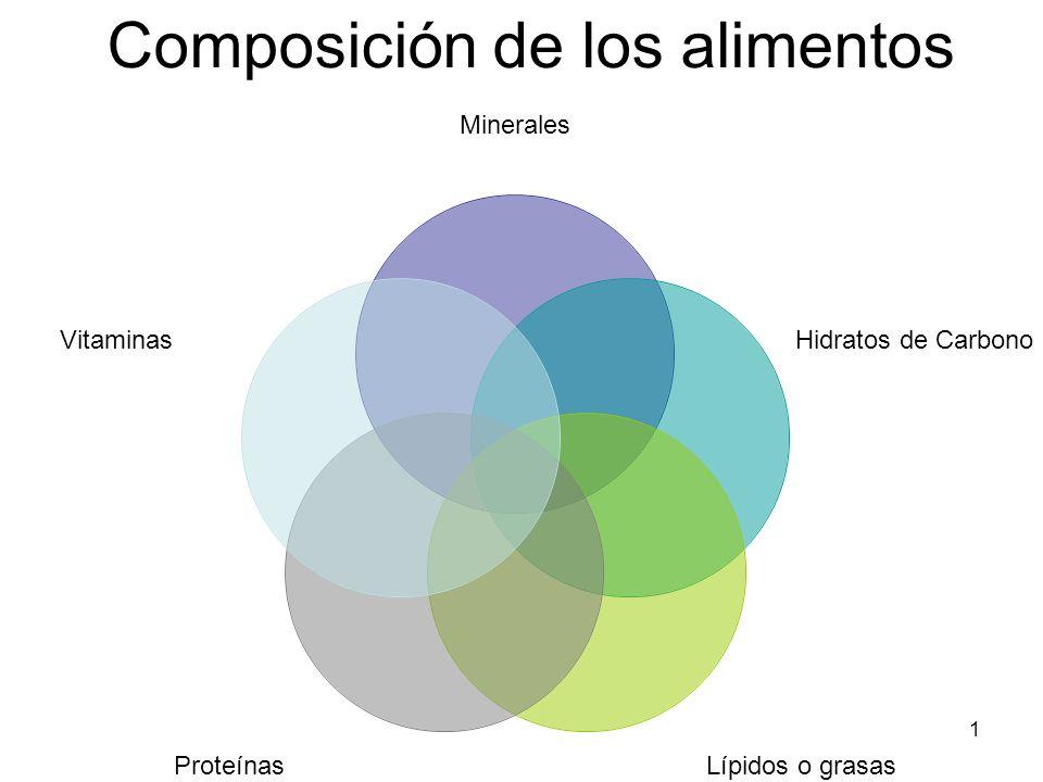 1 Composición de los alimentos Minerales Hidratos de Carbono Lípidos o grasas Proteínas Vitaminas