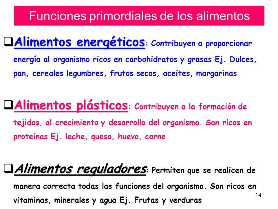 14 Funciones primordiales de los alimentos Alimentos energéticos Alimentos energéticos : Contribuyen a proporcionar energía al organismo ricos en carb