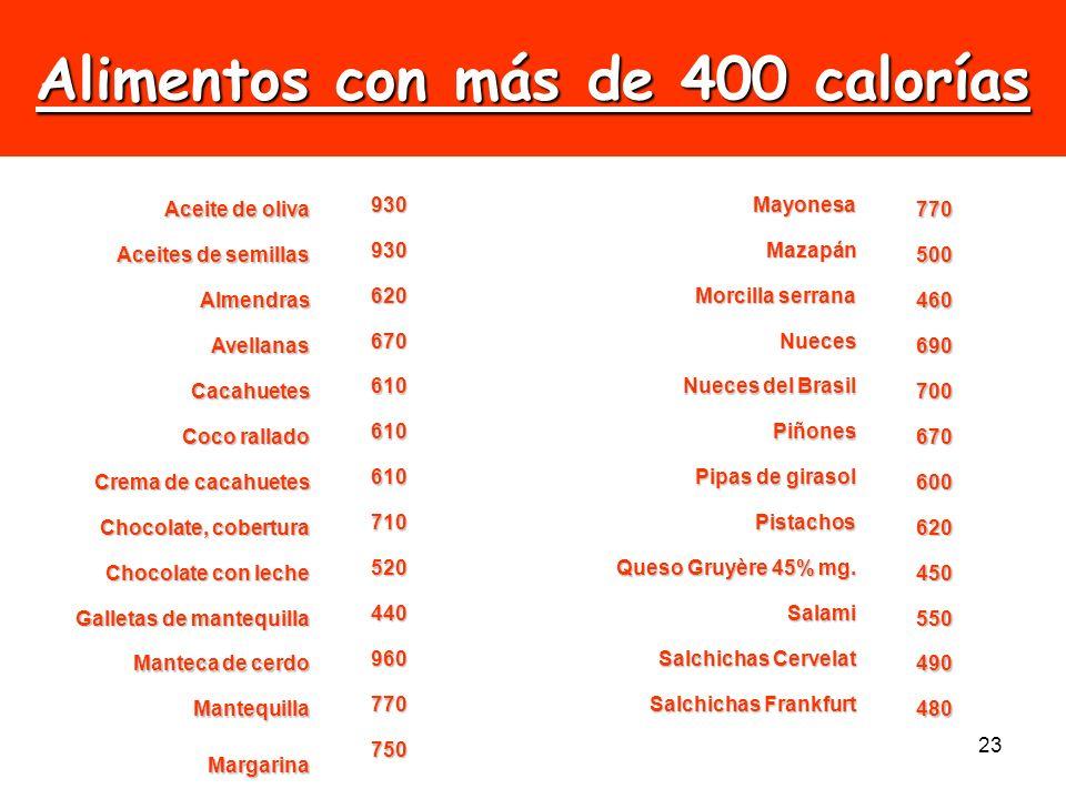 23 Alimentos con más de 400 calorías Aceite de oliva 930Mayonesa 770 Aceites de semillas 930Mazapán 500 Almendras 620 Morcilla serrana 460 Avellanas 6