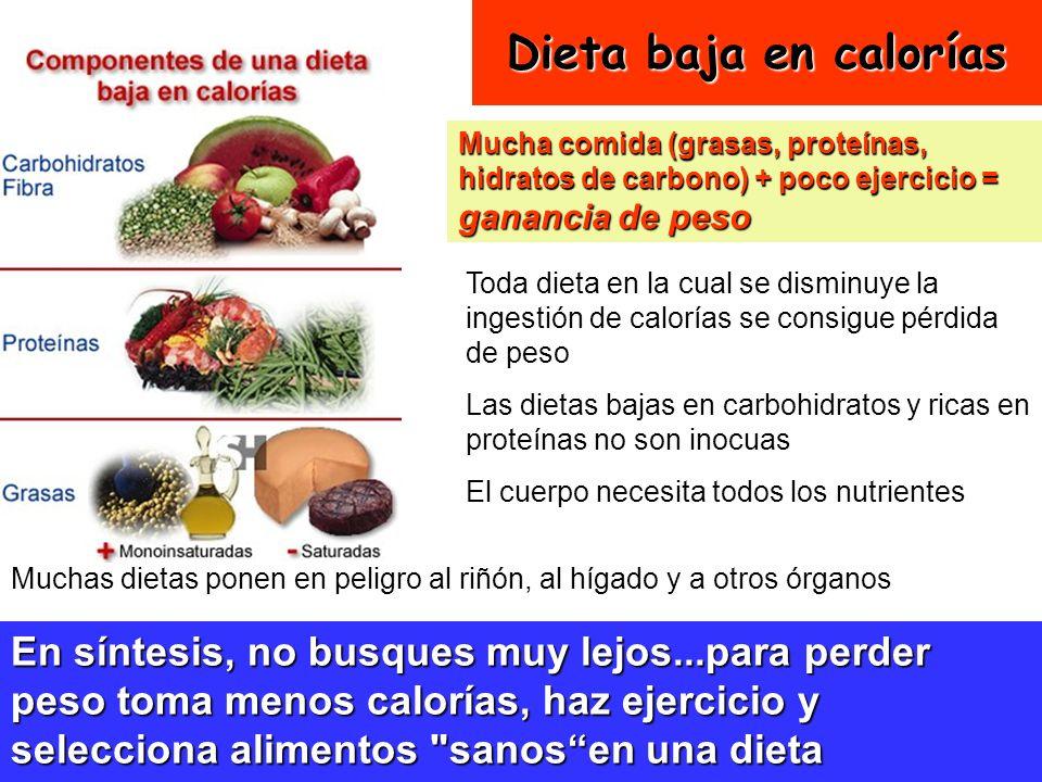 28 Dieta baja en calorías Mucha comida (grasas, proteínas, hidratos de carbono) + poco ejercicio = ganancia de peso Toda dieta en la cual se disminuye