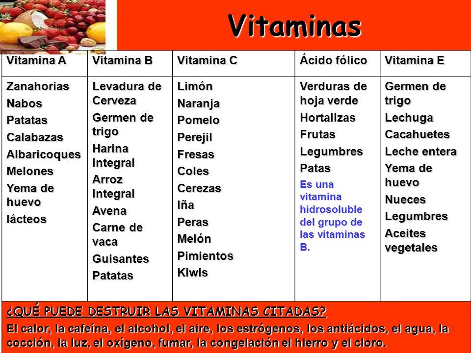 29Vitaminas Vitamina A Vitamina B Vitamina C Ácido fólico Vitamina E ZanahoriasNabosPatatasCalabazasAlbaricoquesMelones Yema de huevo lácteos Levadura