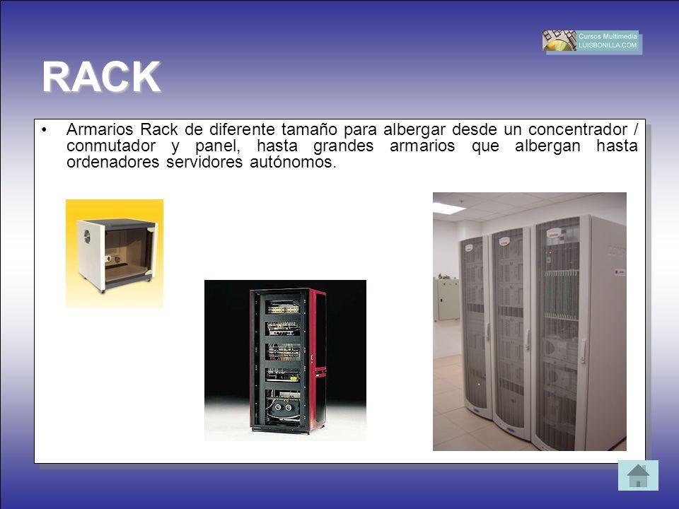 RACK Armarios Rack de diferente tamaño para albergar desde un concentrador / conmutador y panel, hasta grandes armarios que albergan hasta ordenadores