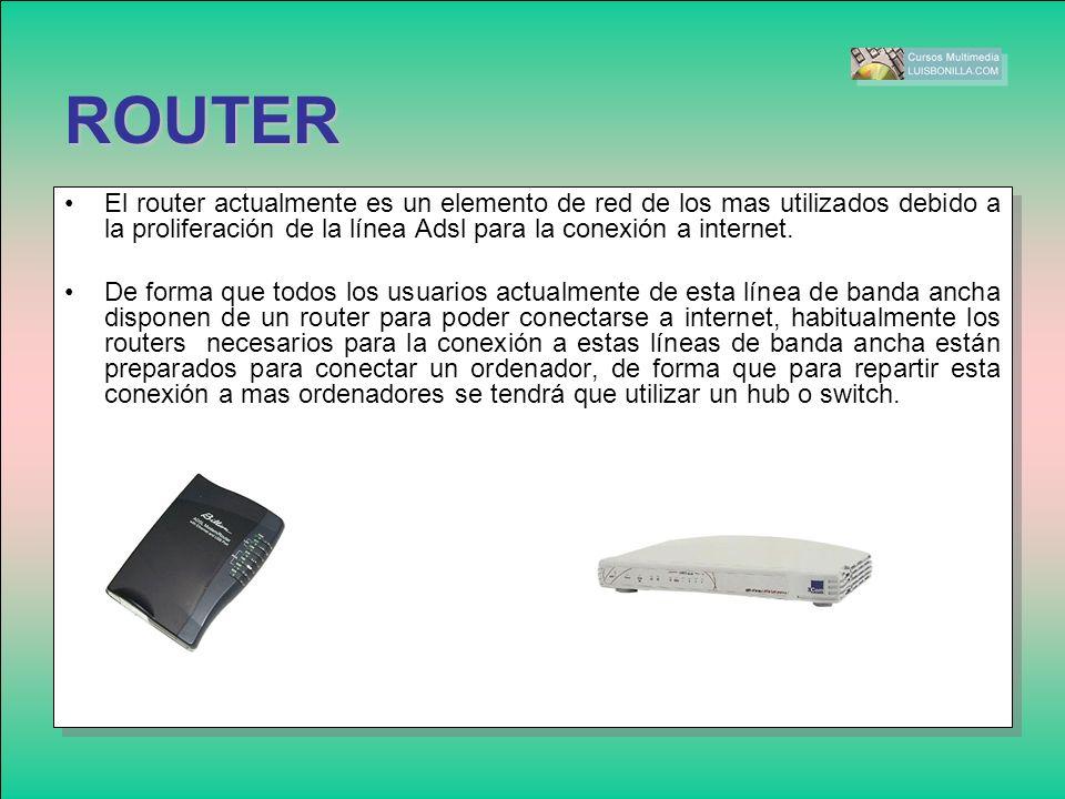 El router actualmente es un elemento de red de los mas utilizados debido a la proliferación de la línea Adsl para la conexión a internet. De forma que
