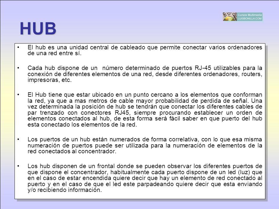 HUB El hub es una unidad central de cableado que permite conectar varios ordenadores de una red entre sí. Cada hub dispone de un número determinado de