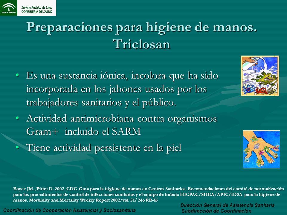Preparaciones para higiene de manos. Triclosan Es una sustancia iónica, incolora que ha sido incorporada en los jabones usados por los trabajadores sa