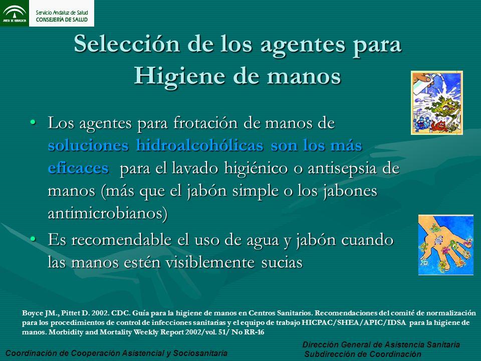 Selección de los agentes para Higiene de manos Los agentes para frotación de manos de soluciones hidroalcohólicas son los más eficaces para el lavado