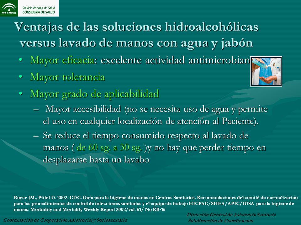 Ventajas de las soluciones hidroalcohólicas versus lavado de manos con agua y jabón Mayor eficacia: excelente actividad antimicrobianaMayor eficacia: