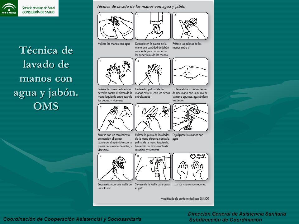 Técnica de lavado de manos con agua y jabón. OMS Dirección General de Asistencia Sanitaria Subdirección de Coordinación Coordinación de Cooperación As