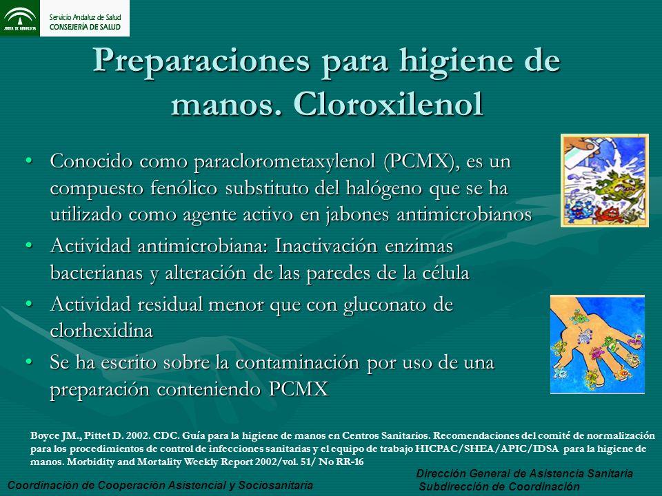 Preparaciones para higiene de manos. Cloroxilenol Conocido como paraclorometaxylenol (PCMX), es un compuesto fenólico substituto del halógeno que se h