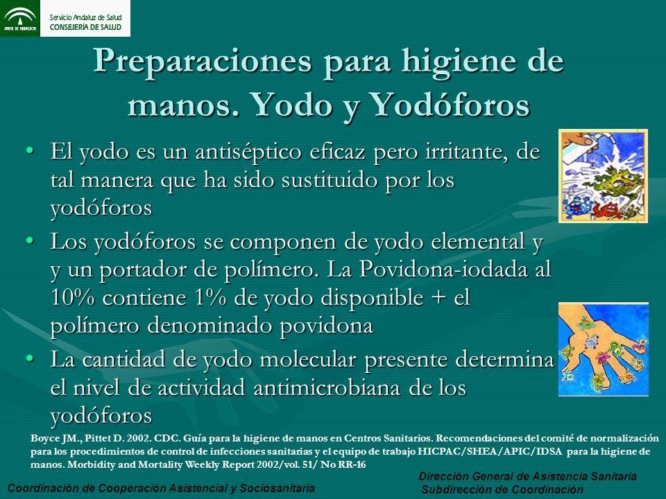 Preparaciones para higiene de manos. Yodo y Yodóforos El yodo es un antiséptico eficaz pero irritante, de tal manera que ha sido sustituido por los yo