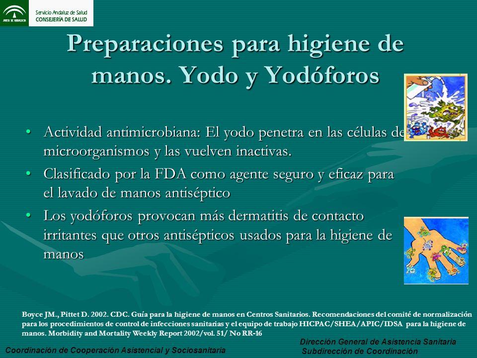 Preparaciones para higiene de manos. Yodo y Yodóforos Actividad antimicrobiana: El yodo penetra en las células de microorganismos y las vuelven inacti