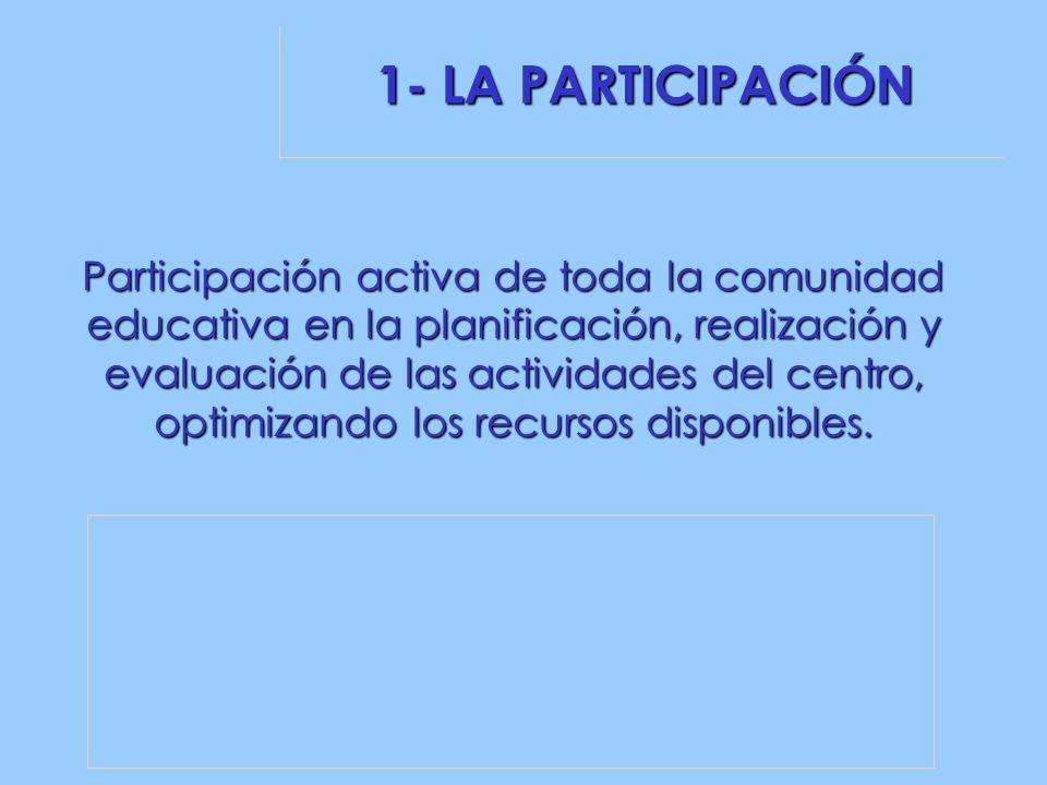 1- LA PARTICIPACIÓN Participación activa de toda la comunidad educativa en la planificación, realización y evaluación de las actividades del centro, optimizando los recursos disponibles.