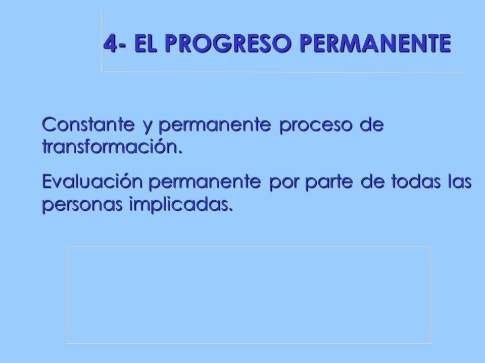 4- EL PROGRESO PERMANENTE Constante y permanente proceso de transformación.