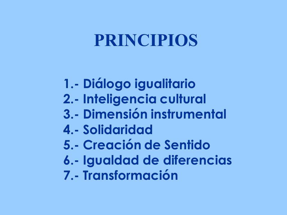 PRINCIPIOS 1.- Diálogo igualitario 2.- Inteligencia cultural 3.- Dimensión instrumental 4.- Solidaridad 5.- Creación de Sentido 6.- Igualdad de diferencias 7.- Transformación