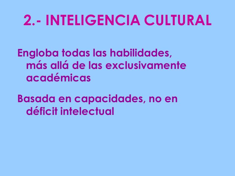 2.- INTELIGENCIA CULTURAL Engloba todas las habilidades, más allá de las exclusivamente académicas Basada en capacidades, no en déficit intelectual