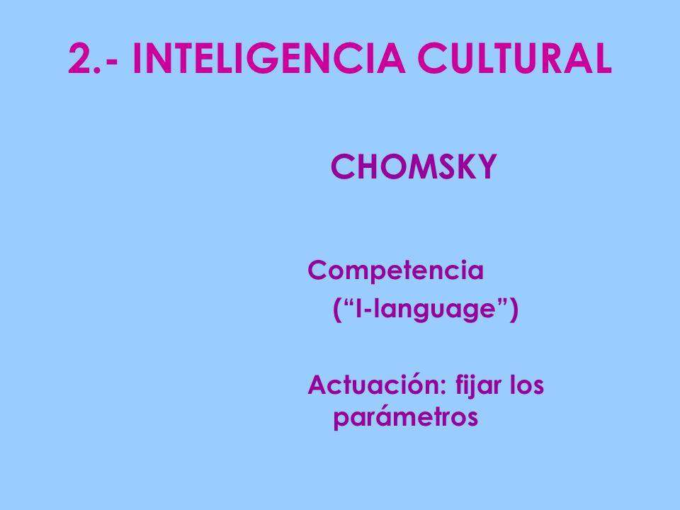2.- INTELIGENCIA CULTURAL Competencia (I-language) Actuación: fijar los parámetros CHOMSKY