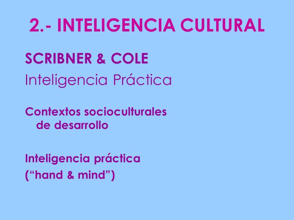2.- INTELIGENCIA CULTURAL Contextos socioculturales de desarrollo Inteligencia práctica (hand & mind) SCRIBNER & COLE Inteligencia Práctica