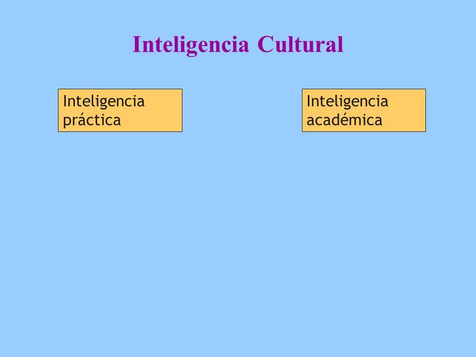 Inteligencia Cultural Inteligencia práctica Inteligencia académica