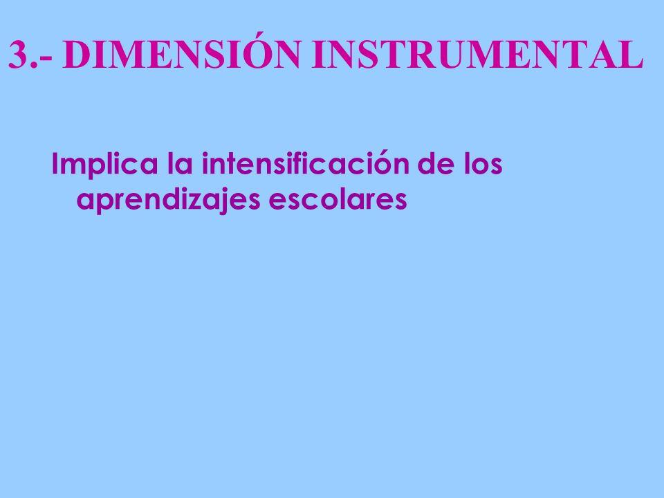 3.- DIMENSIÓN INSTRUMENTAL Implica la intensificación de los aprendizajes escolares