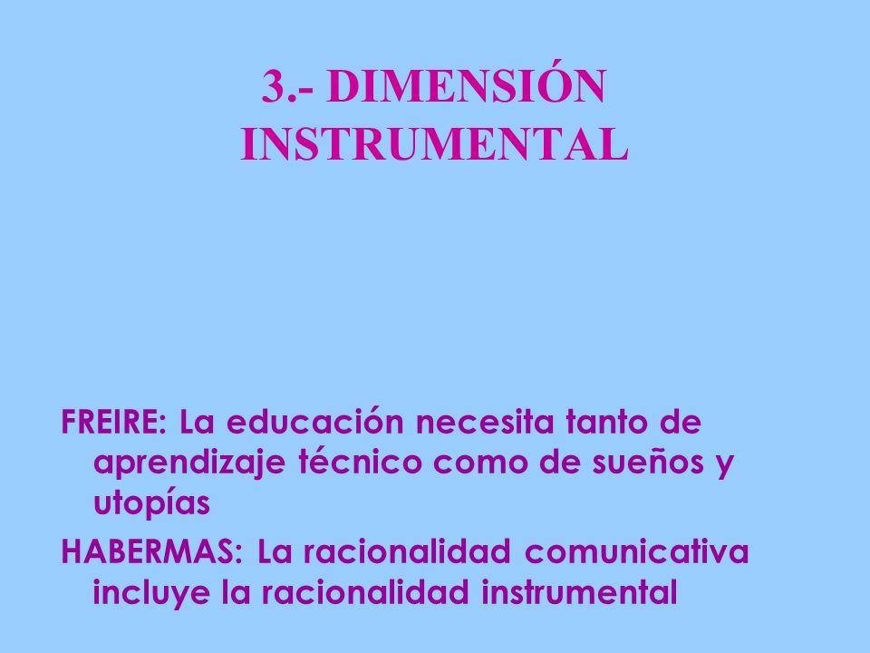 3.- DIMENSIÓN INSTRUMENTAL FREIRE: La educación necesita tanto de aprendizaje técnico como de sueños y utopías HABERMAS: La racionalidad comunicativa incluye la racionalidad instrumental