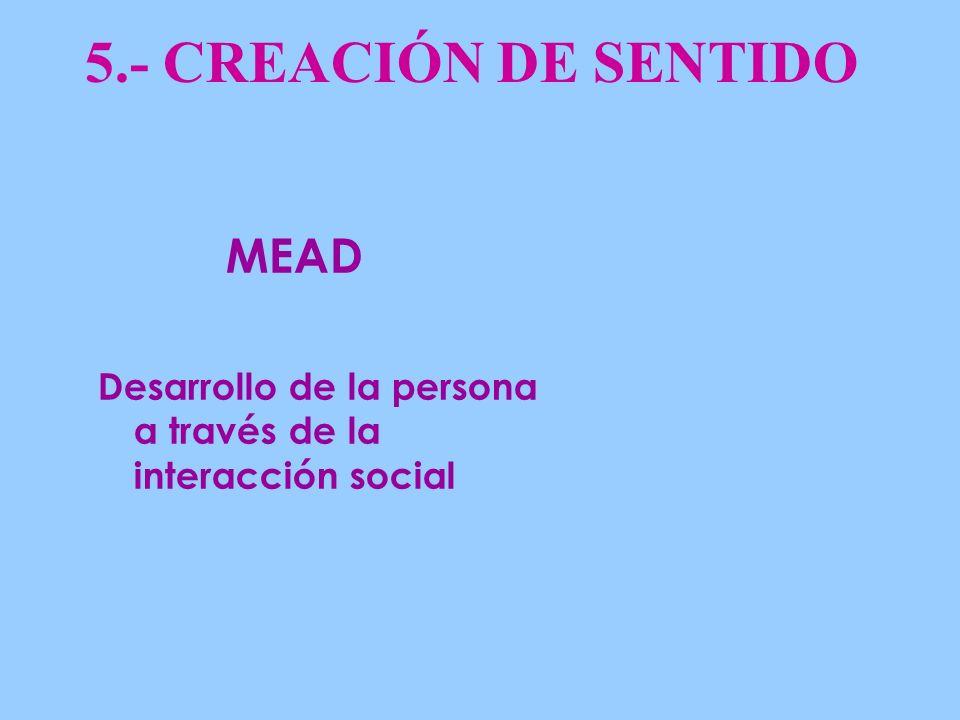 5.- CREACIÓN DE SENTIDO Desarrollo de la persona a través de la interacción social MEAD