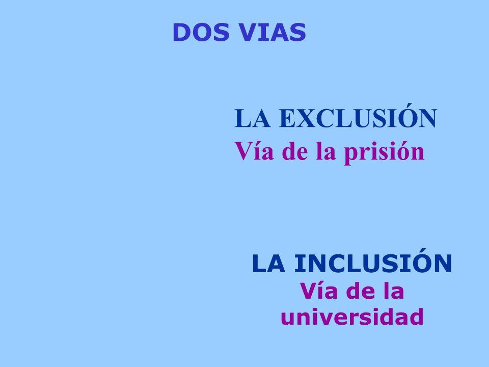 LA EXCLUSIÓN Vía de la prisión LA INCLUSIÓN Vía de la universidad DOS VIAS
