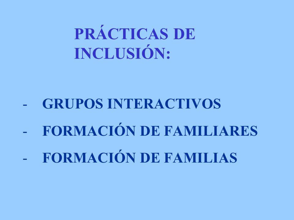 PRÁCTICAS DE INCLUSIÓN: -GRUPOS INTERACTIVOS -FORMACIÓN DE FAMILIARES -FORMACIÓN DE FAMILIAS