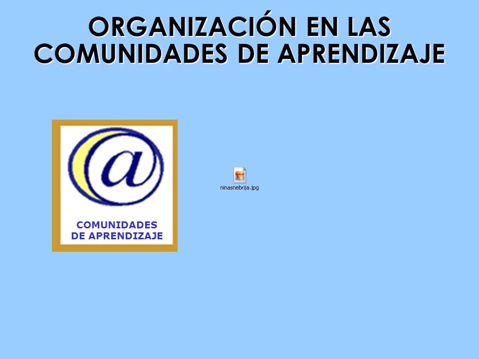 ORGANIZACIÓN EN LAS COMUNIDADES DE APRENDIZAJE COMUNIDADES DE APRENDIZAJE