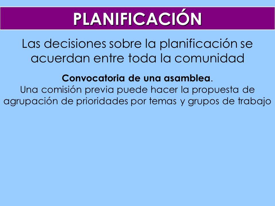 Las decisiones sobre la planificación se acuerdan entre toda la comunidad PLANIFICACIÓN Convocatoria de una asamblea.