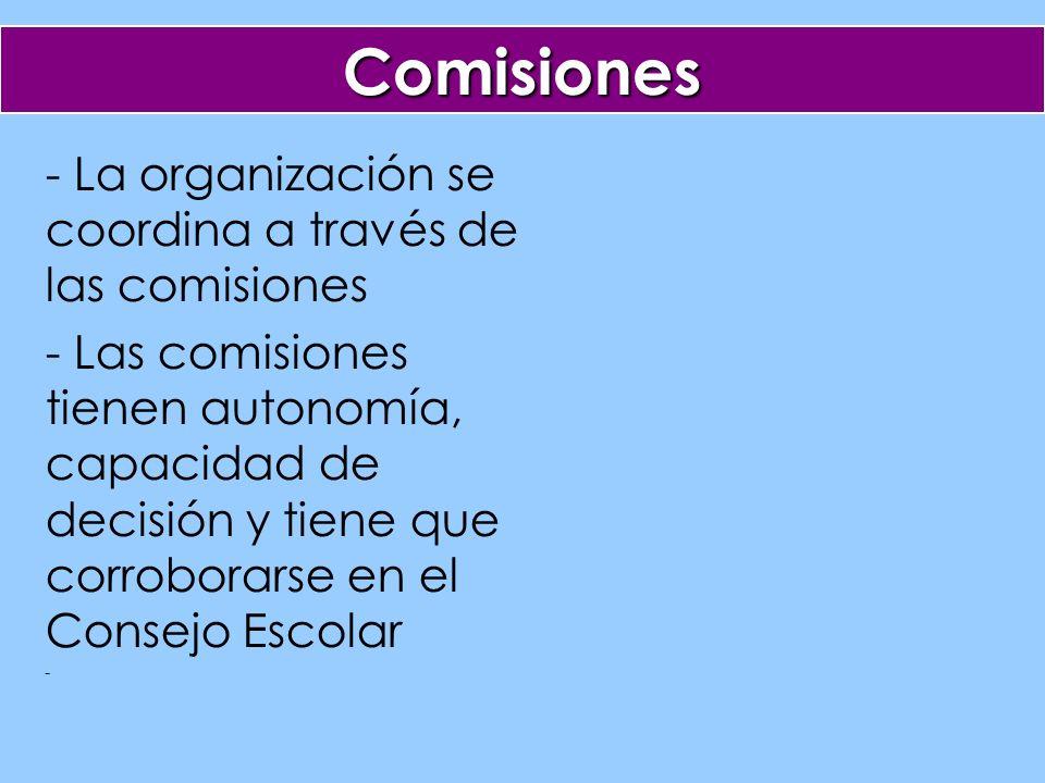 Comisiones - La organización se coordina a través de las comisiones - Las comisiones tienen autonomía, capacidad de decisión y tiene que corroborarse en el Consejo Escolar -