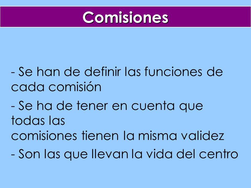 - Se han de definir las funciones de cada comisión - Se ha de tener en cuenta que todas las comisiones tienen la misma validez - Son las que llevan la vida del centro Comisiones