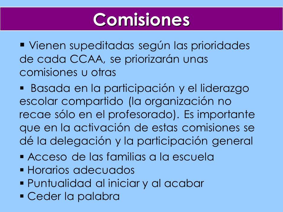 Comisiones Vienen supeditadas según las prioridades de cada CCAA, se priorizarán unas comisiones u otras Basada en la participación y el liderazgo escolar compartido (la organización no recae sólo en el profesorado).