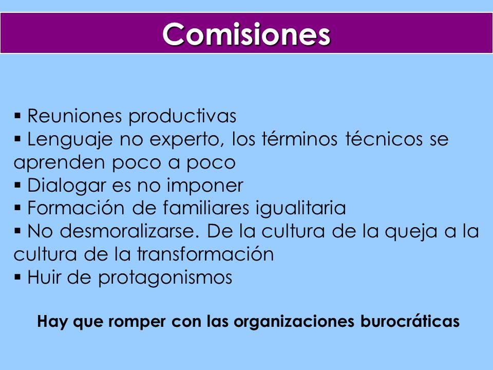Comisiones Reuniones productivas Lenguaje no experto, los términos técnicos se aprenden poco a poco Dialogar es no imponer Formación de familiares igualitaria No desmoralizarse.